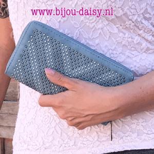 portemonnee met studs blauw