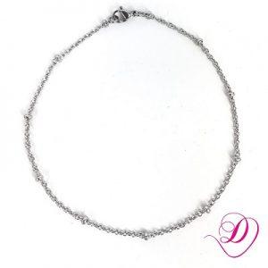 Stainless steel enkelbandje met kraaltjes zilver