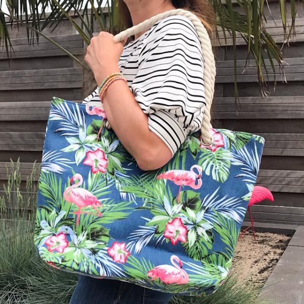 Strandtas shopper flamingo's blauw 3