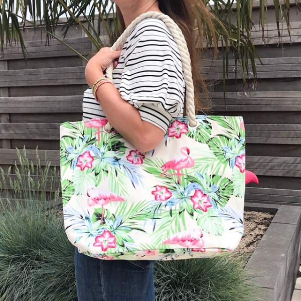Strandtas shopper met flamingo's beige 3