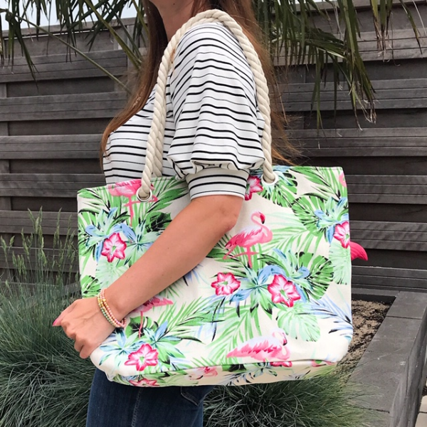 Strandtas shopper met flamingo's beige 4