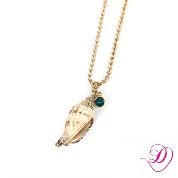 Ketting met schelp en emerald Swarovski goud