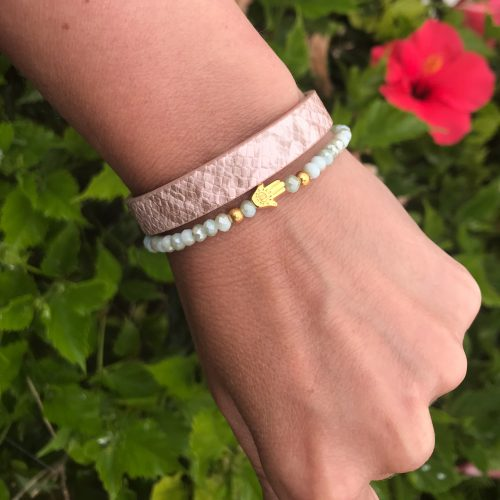Leren armband snake print light rose