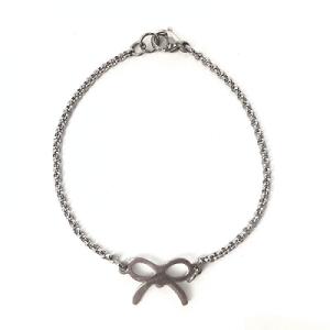 Stainless Steel armband met strikje zilver
