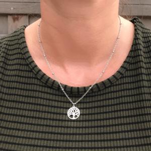 Stainless steel ketting met levensboom zilver
