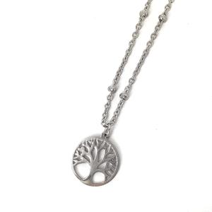 Stainless steel ketting met levensboom zilver2