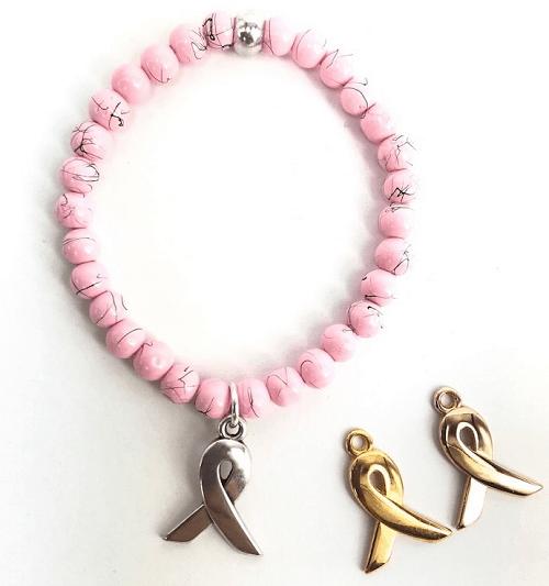 Pink Ribbon armbandje drip art kralen en bedel