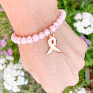 Pink Ribbon armbandje drip-art roze en bedel roségoud