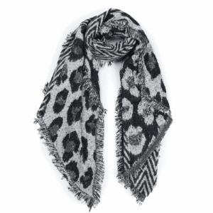 Sjaal panter en geometrische print met glitters zwart grijs