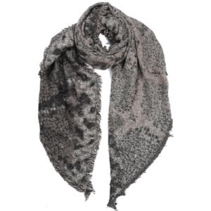 Sjaal slangenprint met glitters grijs