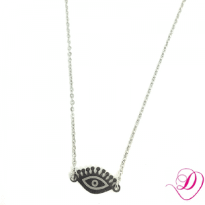 Stainless steel ketting beautiful eye zilver