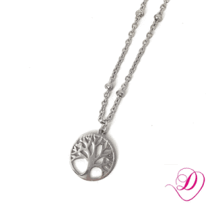 Stainless steel ketting tree of life zilver