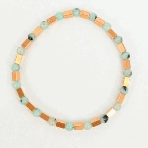 Armband bluestone en tube kralen turquoise en rosegoud