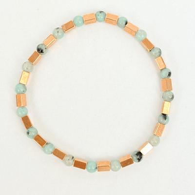 Armband bluestone en tube kralen turquoise en rosegoud1