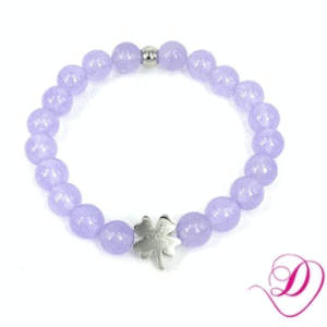 Jade armband Lilac Purple klavertje 4 zilver