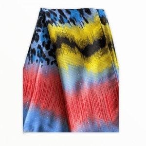 Sjaal panterprint multicolor roze blauw geel