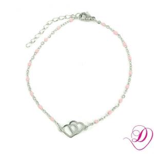 Armbandje hartjes en dots light pink zilver