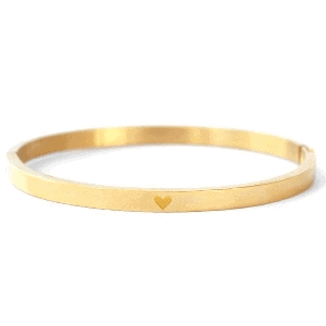 Stainless steel bangle hartje goud smal