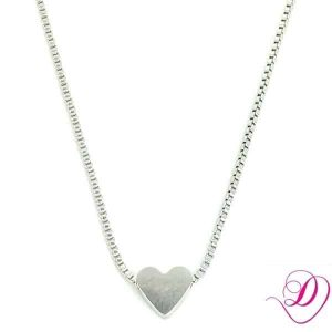 Stainless steel ketting hartje zilver