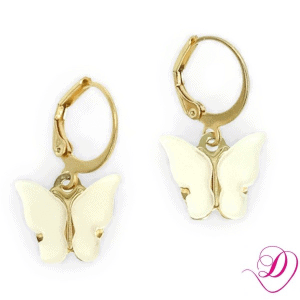 Stainless steel oorbellen Butterfly Off White goud